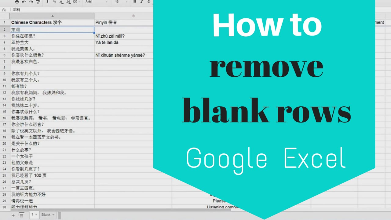 How to Remove Blank Rows from Google Excel Sheets